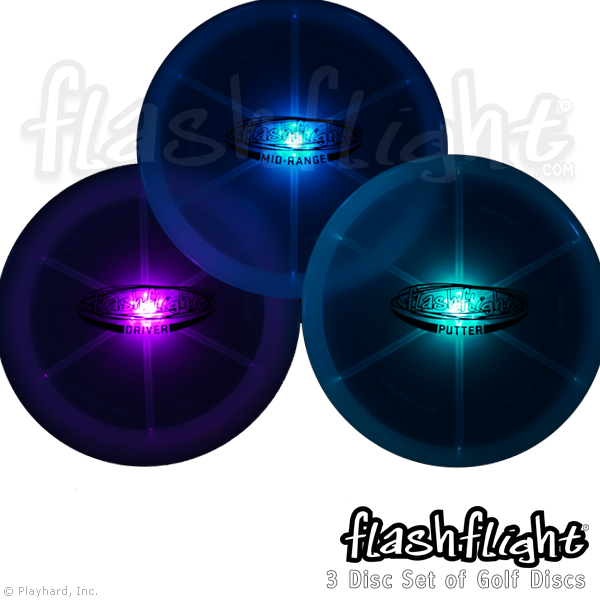 Golf Disc Frisbee Flashflight LED Light Up Golf Disc - Set