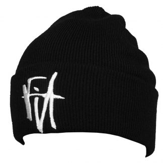 FIT Script Beanie Hat black with white letters